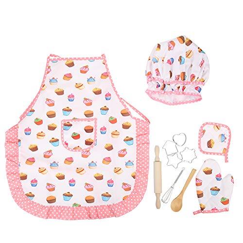 Chef-set voor kinderen, keukenkostuum Rollenspel voor kinderen Meisjes-schort Chef-kok met hoed bakken Kookwant Koekjes uitstekers Kookgereedschap