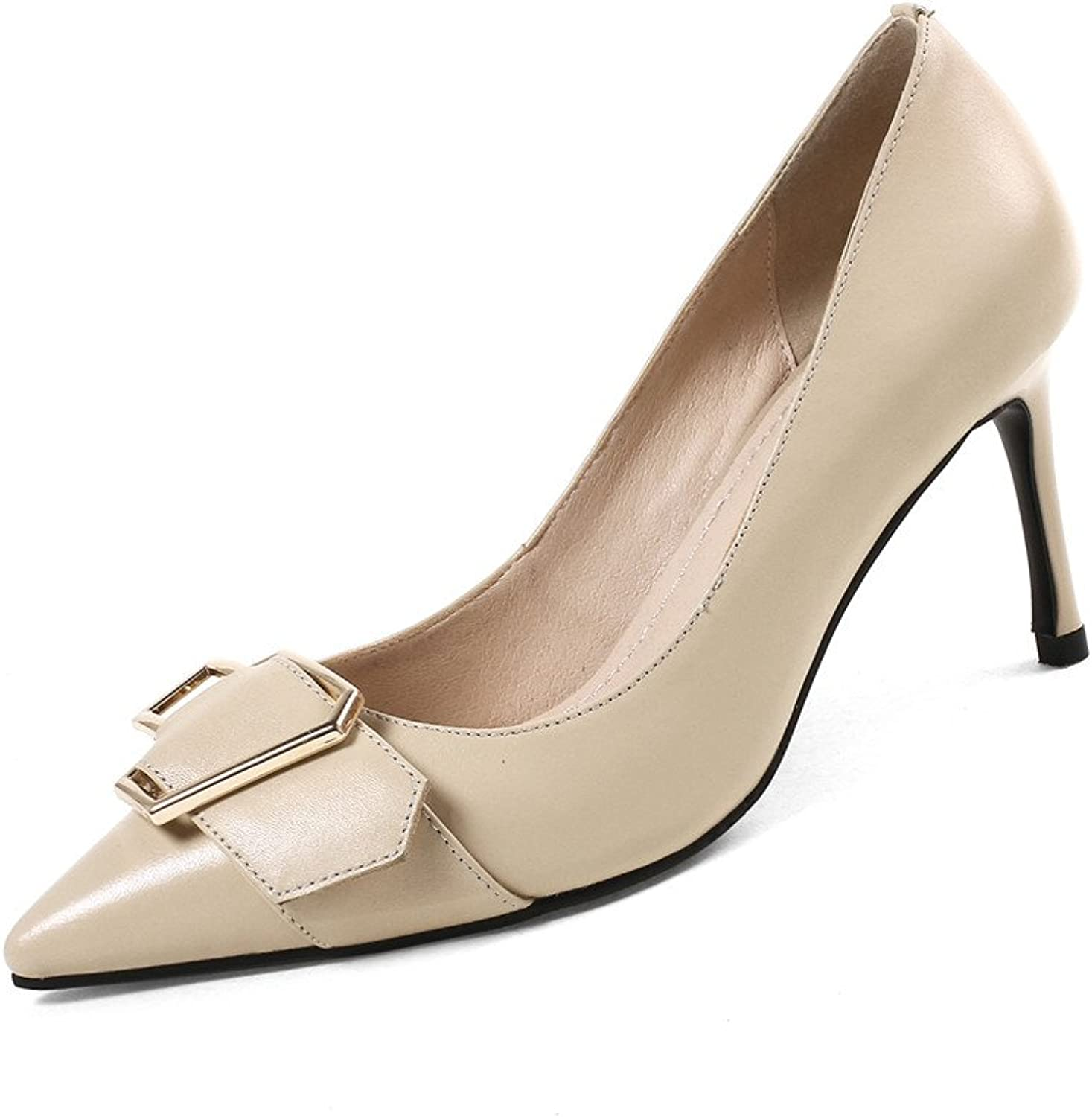 Nineseven Genuine Leather Women's Pointed Toe Hign Stiletto Heel Handmade Comfort Pumps with Buckle