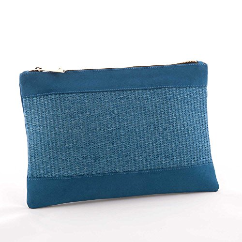 Oshunbags cartera de rafia azul