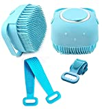 JM SELLER Combo Silicone Bath Body Back Scrubber Brush+Silicone Shower Brush with Soap Dispenser, Bath & Body Brushes, Shower Brush, Double-sided Brush
