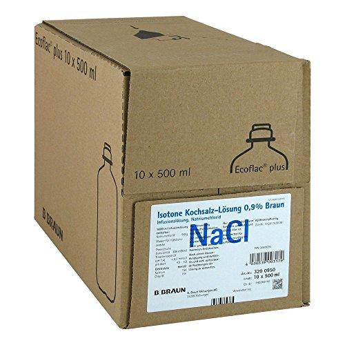 B. Braun 08609255 Ecoflac Plus Solución de solución salina isotónica, 0.9%, 10 x 500 ml