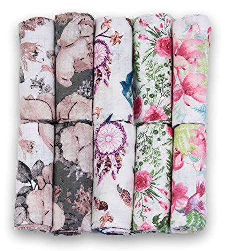 Mulltücher - Mullwindeln - 10er Pack 70x80 cm - Stoffwindeln, MADE IN EU, schadstoffgeprüft - Spucktücher Set für Mädchen – Baby Mullwindeln- Rosa – Blumen- OEKO-TEX zertifiziert