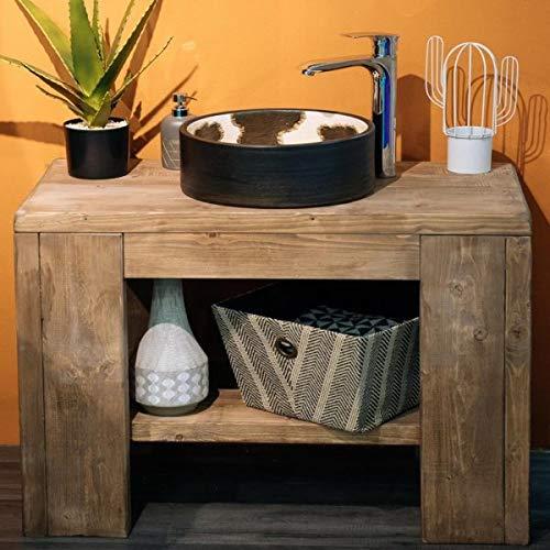 Mueble de baño de madera maciza, mueble de tocador de pino macizo con encerado de roble – Mueble de almacenamiento con fregadero redondo con grifo y desagüe – Lavabo de madera de estilo rústico simple