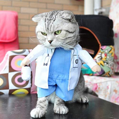 WFRAU Katzen Lustige Cosplay Kostüme Haustiere Halloween Weihnachten Arzt/Polizist/Pirat Cosplay Uniform Jumper Katzen Bekleidung Haustiere Bekleidung