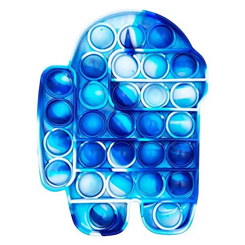 Garlic Press Among Us Push Pop Bubble Sensory Fidget Toy Fidget Sensory Toys Squeeze Toys Stress Relief Toys Squeeze Spielzeug für Erwachsene und Kinder (Tarnung blau)