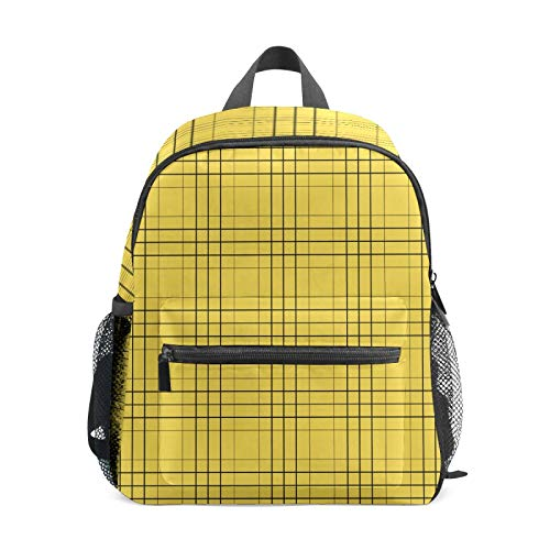 Kids Backpack Preschool Kids School Bag Boy Girl Lightweight Shoulder Book Bag for 1-6 Years Old Perfect Back Pack for Toddler to Kindergarten Yellow Black Lines Cross Square