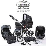 Chilly Kids Matrix II 3 en 1 Poussette combinée (siège auto inclus les adaptateurs, habillage pluie, moustiquaire, roues pivotantes 62 couleurs) 57 noir & points blancs