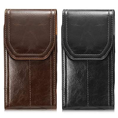 2 Pack Vertical Portable Leather Case LUXMO Leather Belt Clip Holster Phone Pouch Carrying Pocket with Belt Loops for iPhone 7 Plus 8 Plus Samsung Galaxy S10 Plus S9 Plus S8 Plus (Brown + Black)