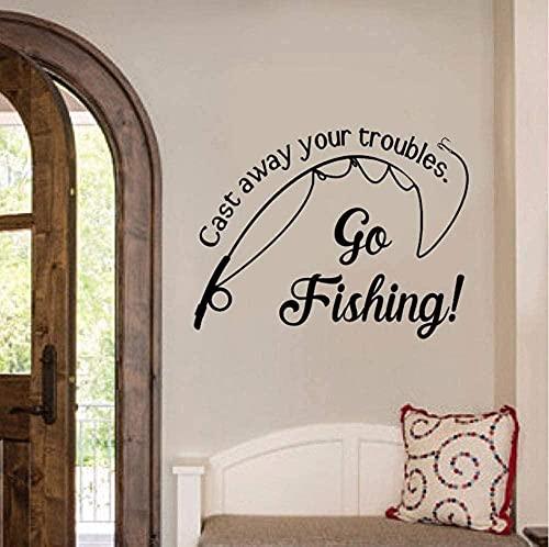 Arte de pared Throw Your Trouble Fishing Spots vinilo calcomanía etiqueta de la pared en la pared The Fish Go Fishing Quote Club decoración...