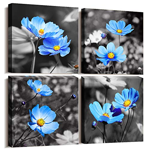 Wall Art For Living Room Black and White cyan blue flower Canvas Wall Decor for Home artwork painting 12