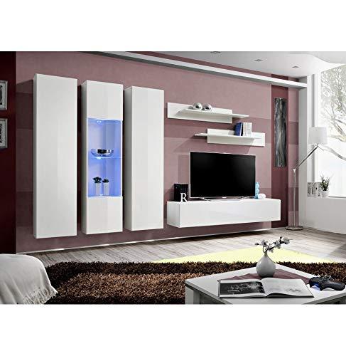 Banc TV avec LED - 6 éléments - Blanc