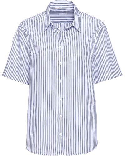 Seidensticker Damen Fashion 1/2-lang 129014 Bluse, Weiß-Blau, 44