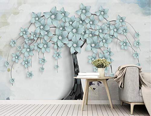 Papel Pintado Fotomurales 3D Árbol De Flor De Alivio Salón Dormitorio Despacho Pasillo Decoración Murales decoración de Paredes Moderna 200x140cm