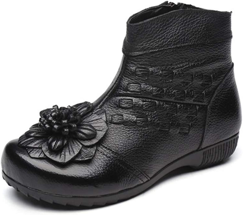 Fashion shoesbox Women's Retro Flower Leather Ankle Boots Flat Round Toe Zipper Bootie Winter Comfort Dress Short Boots