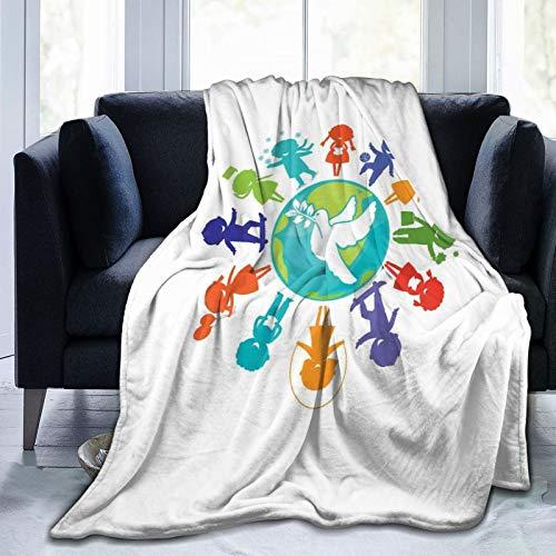 Manta mullida, linda silueta de niños alrededor del mundo con símbolo de paloma de paz planeta tierra, ultra suave, manta para dormitorio, cama, TV, manta de cama de 50 x 40 pulgadas