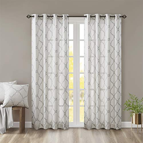 Madison Park Saratoga Window Curtain Light Filtering Fretwork Print 1 Panel Grommet Top Drapes/Valance for Living Room Bedroom and Dorm, 50x84, Ivory