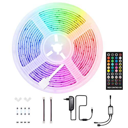 HoMii LED Streifen 5m - RGB LED Strip Sync mit Musik, IP65 Wasserdicht 150 LED 5050 SMD Farbwechsel LED Strip, 40 key Fernbedienung,16 single colors