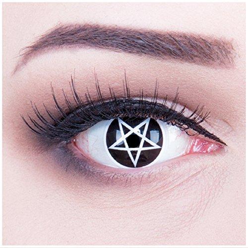 Funnylens 1 Paar farbige weisse weiße schwarze Crazy Pentagram Teufel Satan Jahres Kontaktlinsen perfekt zu Halloween, Karneval, Fasching oder Fasnacht mit gratis Kontaktlinsenbehälter ohne Stärke!