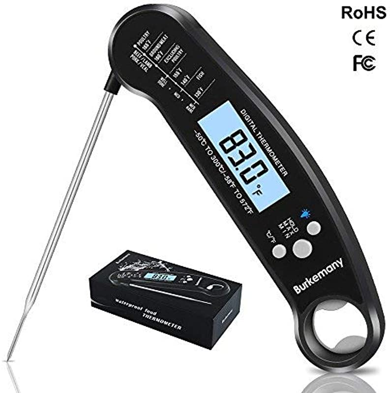 Burkemany Digital Instant Read Meat Thermometer Huge LCD Screen Backlight And Waterproof Design Antibacterial Probe Electronic Thermometer Special For BBQ Grill Smokers Food Milk Steak Black