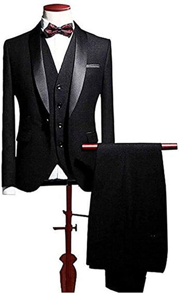 Botong Men's Shawl Lapel 3 Pieces Wedding Suits Groom Tuxedos