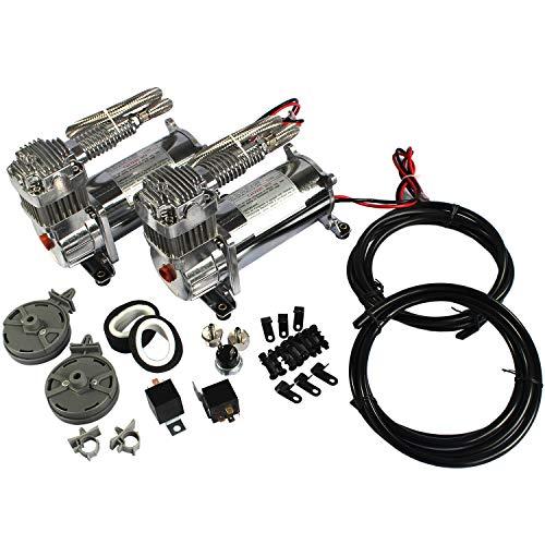 JDMSPEED New 12 Volt Dual Chrome 440C 200 PSI Air Compressor Kit 440C