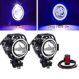 Biqing Faro Adicional para Moto,CREE U7 Faros de Motocicleta Luces de Niebla12V 24V Luces de Delantera de Motocicleta Con interruptor Impermeable 1 Modo para Moto Quad Scooter(Azul)