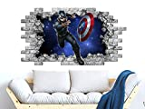 3D Captain America Wall Sticker, Hole in the Decal, Captain America Wall Murals, Peel and Stick, Superheroes Avengers Boys Bedroom Decor NT20