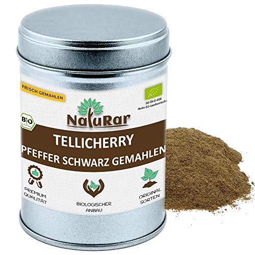 NatuRar Bio Schwarzer Tellicherry Pfeffer Pulver 80g Aromadose | Frisch gemahlen | Kontrollierter Biologische Anbau aus Indien | Verpackt und kontrolliert in Deutschland