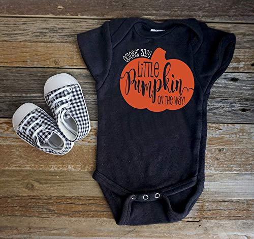 Product Image of the Halloween Fall Thanksgiving Pregnancy Announcement Onesie Little Pumpkin on the...