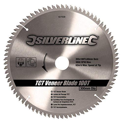 Silverline 427539 - Disco de TCT para madera contrachapada, 100 dientes (300 x 30 - anillos de 25, 20 y 16 mm)