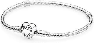 Pandora 潘多拉 银制挂坠手镯 带心形钩扣 银色 女款 590719-18 18cm(丹麦品牌 香港直邮)