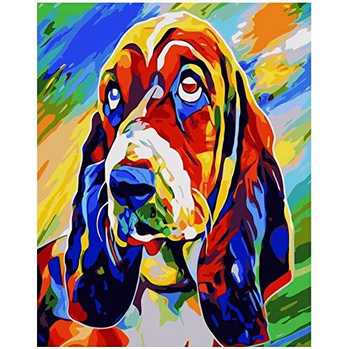 VFDGB Veelkleurige Pop Hond Dier Digitaal Schilderen Door Nummers Wall Art Olieverfschilderij Holiday Gift Home Decor
