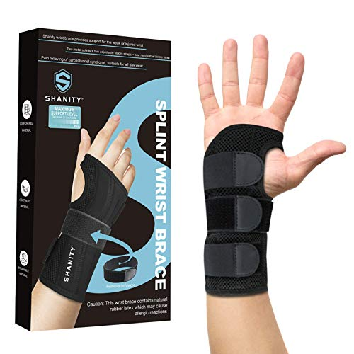 Shanity Carpal Tunnel Wrist Brace for Night Support,Removable Metal Wrist Splint,Three Adjustable Compression Straps,Wrist Support for Men,Women,Tendonitis,Hand Brace for Pain Relief-Right