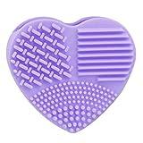 Sayue 1pc Limpiador del cepillo del maquillaje del silicón, forma de corazón, púrpura
