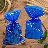 Clear Cellophane Treat Bags Cello Cookie Candy Plastic Bag, blue 6x9 Inch Bags,Pack of 50