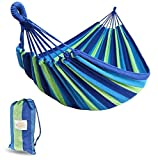 Emerlic Single Cotton Hammock, Lightweight, Durable 1 Person Hammock for Kids & Adults – Woven Outdoor & Indoor Camping Hammock, Tree Straps, Storage Bag by Emerlic