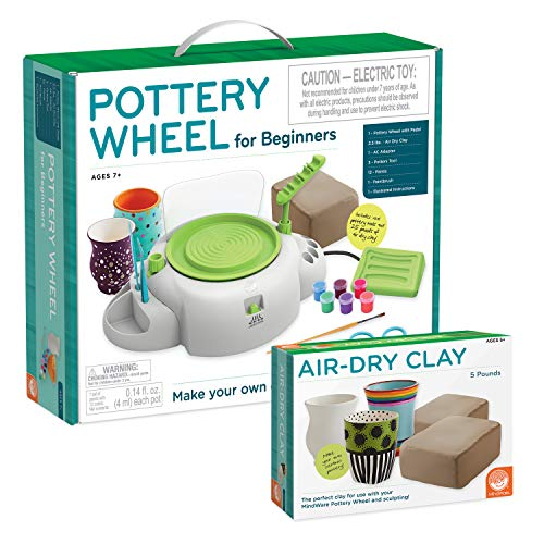 MindWare Pottery Wheel for Kids and Beginners with Air-Dry Clay Refill - Great for Introduction to Crafts and Home Activities