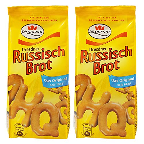 2er Pack Dr. Quendt Dresdner Russisch Brot (2 x 100 g) in Buchstabenform mit viel Karamell natürlich gebacken