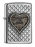 Zippo PL 207 Herz Emblema de corazón en 3D, latón, Design, 5,83,81,2