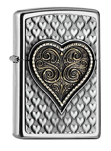 Zippo Classic Lighter-3D Heart Emblem, Brass, Design, 5,83,81,2