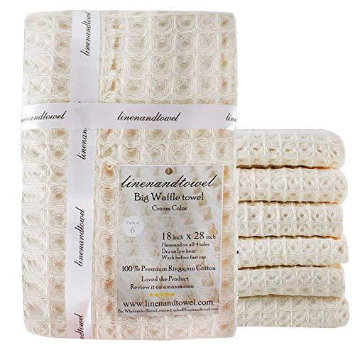 Serviette de lin et coton plat de cuisine Serviette en tissage gaufré, 45,7 x 71,1 cm, Lot de 6 Big Waffle crème