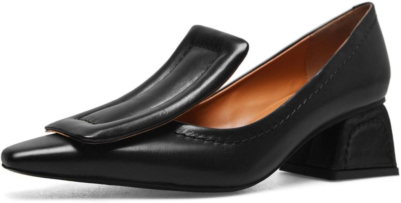 Nio Nio Nio Sju genuina läderskor, toe Chunky Heel, handgjorda affärer Eleganta Pumpar nya  billig och högsta kvalitet