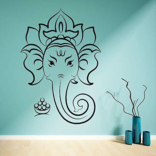 yaonuli Hindu-Gott Wandhauptdekoration Elefant Wandtattoo Lotus Yoga Wandaufkleber 50x68cm