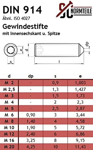 ISO 4027 - aus rostfreiem Edelstahl A2 Gewindestifte mit Innensechskant und Spitze - SC914 DIN 914 V2A M8x50 - SC-Normteile 10 St/ück - Madenschrauben