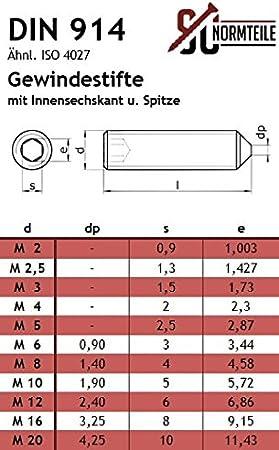 Madenschraube.3x44 Spitze 10 STK Gewindestifte DIN914 mit Innensechskant u M3x4 Edelstahl A2