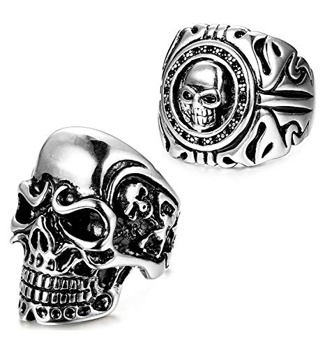 LOLIAS 2Pcs Stainless Steel Skull Ring for Women Mens Punk Gothic Biker Ring Vintage Rock Halloween Ring Jewelry