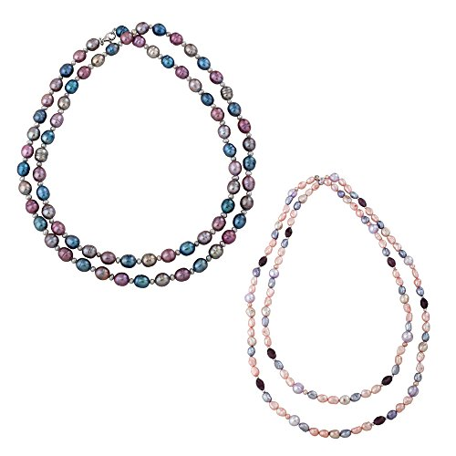 Sterling Silver Multicolor Fresh Water Cultured Pearl Two Necklace Set