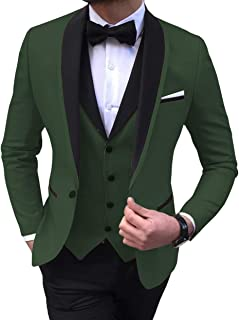 caaf2d470b5c Aesido Men's Suit Formal 3 Pieces Regular Fit Shawl Lapel Solid Prom  Tuxedos Wedding Groomsmen (
