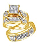 AFFY White Natural Diamond Micro-Pave Engagement Trio Band Ring Set in 14k Yellow Gold Over Sterling Silver (0.33 Carat)