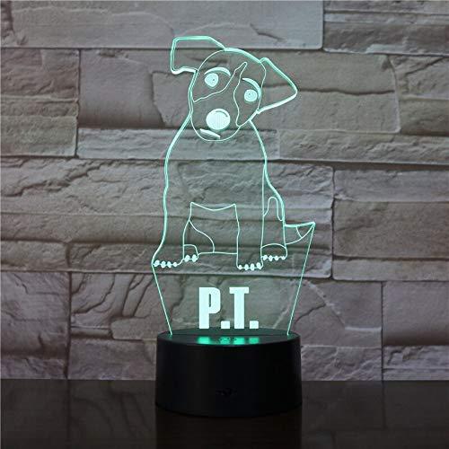 Lindo perro 3D lámpara de mesa multicolor luz de noche LED decoración regalo